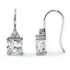 Resplendent Princess Cut Swarovski Element Crystal on Solid 925 Sterling Silver Dangle Earrings