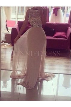 Shop discount A-line Scoop Sequin Bodice Floor Length Chiffon Champagne Prom Dress WNPD0496