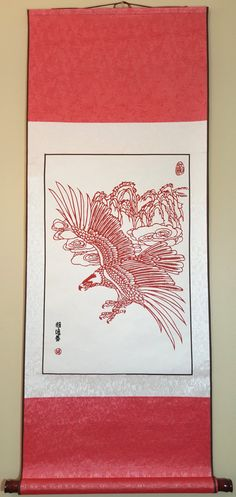 Chinese traditional handmade paper cutting hanging picture/ Eagal in the sky by 123hand on Etsy