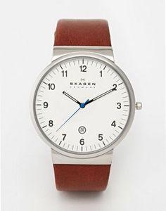 Skagen Brown Leather Strap Watch SKW6082