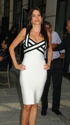 Sofia Vergara White Herve Leger Fitted Bandage Dress