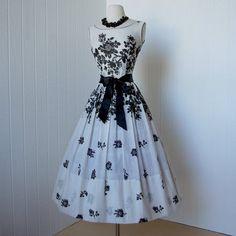 vintage 1950's dress gorgeous L'AIGLON semisheer black by traven7 | We Heart It