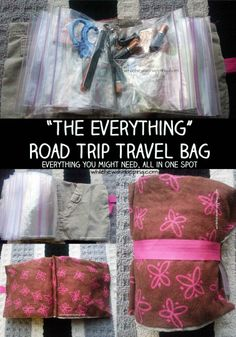 The Everything Bag.  Made from an old pair of pants and ziptop bags.  Holds all the little things you might need.  Stores easily in a diaper bag, under the front seat or in the glove box.