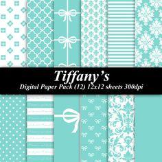 Tiffanys Digital Paper Pack (12) 12x12 sheets 300 dpi scrapbooking invitations wedding shower via Etsy