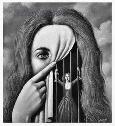 art surrealista To me this art is saying that you show one thing but feel another. you can show happiness but still feel caged in with nobody to turn or talk to about your feelings. Art Sketches, Art Drawings, Pencil Drawings, Prison Drawings, Tattoo Sketches, Arte Obscura, Gcse Art, Surreal Art, Dark Art