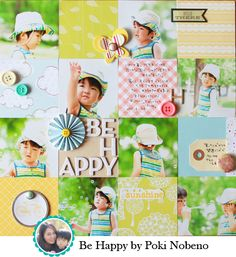 Be Happy layout by Poki Nobeno for American Crafts
