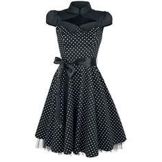 Black White Small Polka Dot Swing Dress - Medium-lengte jurk van H&R London Robe Swing, Swing Dress, Style Rockabilly, Vintage Mode, Vintage Style, Style Noir, Soft Gamine, London, Mi Long