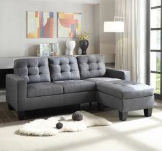 Ivy Bronx Haysi Sofa | Wayfair Tufted Sectional Sofa, Fabric Sectional, Corner Sectional, Fabric Ottoman, Linen Fabric, Gray Sectional, Small Sectional, Corner Sofa Set, Couch Set
