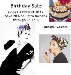 Birthday Sale! Use code HAPPYBIRTHDAY and save 20% on Retro Style Turban Head Wraps through 8/11/13.