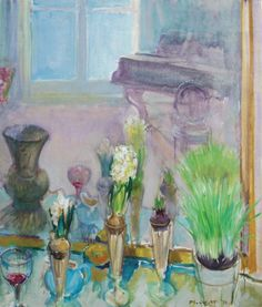 "Piano and Spring Flowers  -   Joseph Francis Plaskett 1970  Canadian  1918-2014    Oil on canvas, 32 x 27""."