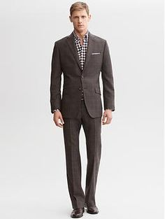 Tailored brown plaid wool two-button suit blazer | Banana Republic - Groom Attire