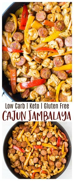 Keto Cajun Jambalaya - a combination of Andouille sausage, chicken, shrimp and v. - Keto Cajun Jambalaya – a combination of Andouille sausage, chicken, shrimp and vegetables in a fl - Low Carb Dinner Recipes, Gluten Free Dinner, Keto Dinner, Breakfast Recipes, Diet Breakfast, Easy Recipes For Dinner, Shrimp Dinner Recipes, Low Carb Shrimp Recipes, Breakfast Quiche
