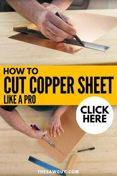 Copper sheet is a versatile material to work with, adding a gorgeous finish to many a DIY project. Learn how to cut copper sheet like a pro with our step-by-step guide after the jump. Copper Crafts, Copper Decor, Metal Crafts, Diy Crafts, Metal Projects, Cool Diy Projects, Weekend Projects, Project Ideas, How To Cut Metal