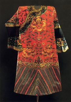 Gown, China, late 19th century. Brocade, with embroidery. (The Museum of Oriental Art Moscow,Acquired in 1976 from a private collection)