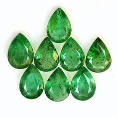 4.59 Cts Natural Emerald Pear Cut 7x5 mm Lot 08 Pcs Untreated Calibrated Loose Gemstones Semi Precious Gemstones, Loose Gemstones, Brazil Country, Natural Emerald, Just Amazing, Jewelry Sets, Pear, Nature, Etsy