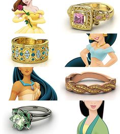 dragonfiretwisted:  Ring Design Meme  Rings inspired by the Disney Princesses - Part II Belle, Jasmine, Pocahontas, and Fa Mulan  (made here...