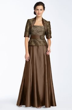 Main Image - JS Collections Metallic Lace Brocade Gown & Bolero