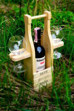 Подставка для бутылки вина и бокалов Save Water Drink Wine ручная работа, фото 1