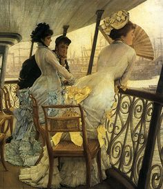 The Gallery of H.M.S. 'Calcutta' (Portsmouth) c.1877 by James Tissot. Victorian Paintings, Victorian Art, Victorian Ladies, Victorian Porch, Victorian Dresses, James Joseph, Art Ancien, Renoir, Portsmouth