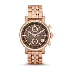 Fossil Original Boyfriend Chronograph Stainless Steel Watch - Rose, ES3494  FOSSIL® Watches