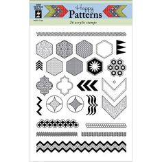 "Blitsy: Hot Off The Press Acrylic Stamps 6""X8"" Sheet-Happy Patterns - Hot Off The Press Stamps - 0812 - Paper - Save up to 70% on craft supplies!"