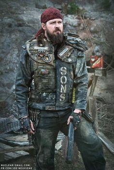 Wanderer. Male. armor.  post apocalyptic.                                                                                                                                                      More