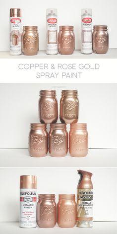 Copper Spray Paint, Spray Paint Colors, Spray Painting, Painting Tricks, Metallic Copper Paint, White Spray Paint, Pot Mason Diy, Mason Jar Crafts, Glitter Mason Jars