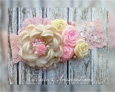 Baby girl headband / bow / diademas ivory pink