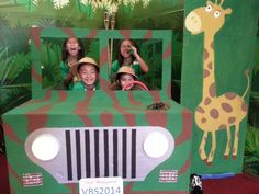 Our NH church VBS safari jeep made out of a TV box, paint and tap lights Safari Party, Jungle Theme Parties, Jungle Theme Birthday, Jungle Party, Safari Photo Booth, Jungle Theme Classroom, Classroom Themes, Rainforest Classroom, Vbs Themes