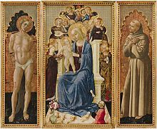 Nicolò Alunno (1430-1502) ~ San Sebastiano, San Francesco d'Assisi, Madonna con Bambino in trono, angeli e donatore (Saint Sebastian, Saint Francis of Asssi, Madonna with Child on Throne, Angels and Donors) ~ Fogg Art Museum of Harvard University ~ Cambridge, Massachusetts ~ Niccolò di Liberatore, known as L'Alunno was an Italian painter of the Umbrian school.