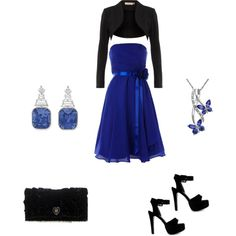 Black and Blue outfit, created by faithgarnica #polyvore