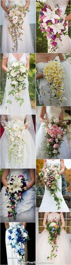 wedding flowers & wedding bouquets / http://www.deerpearlflowers.com/cascading-wedding-bouquets/