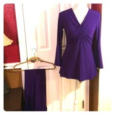 Purple pants and blouse set Beautiful purple pants suits that. The color is the closest to the first photo. But the true color is even more on the red side where as the photos look more on the blue side. 95% polyester 5% spandex. Made by CSC studio. Size small. Really soft and really comfortable! Never worn out, just tried on. CSC Studio Tops