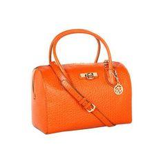 DKNY French Grain Satchel Satchel Handbags - Orange