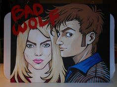 Doctor Who   Tenth Doctor and Rose  BAD WOLF canvas  by grimNglam