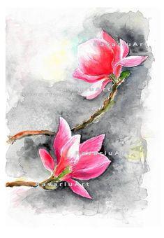Pink Magnolia flowers watercolor painting digital JPG printable file Watercolours, Watercolour Painting, Watercolor Flowers, Hidden Images, Magnolia Flower, Magnolias, Spring Garden, Wall Prints, Garden Art
