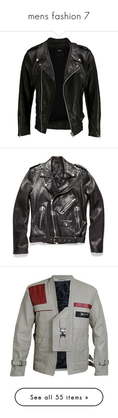"""mens fashion 7"" by this-is-my-name-i-suppose ❤ liked on Polyvore featuring outerwear, jackets, tops, coats, leather jackets, black, lined leather jacket, pocket jacket, leather biker jacket and cowhide leather motorcycle jacket"
