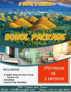 BOHOL PACKAGE Minimum of 2 persons to travel For more inquiries please call: Landline: Mobile: or Email us:. Bohol Philippines, Retail Companies, Stay The Night, Travel Agency, Day Tours, Manila, Packaging, Island, Islands