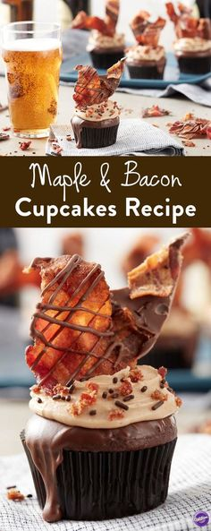These sweet and savory Maple Syrup Buttercream & Bacon Cupcakes are perfect for Father's Day, game day parties and more. Chocolate cupcakes topped with homemade maple buttercream, chocolate ganache, bacon candy bark and a bacon cupcake topper. Maple Bacon Cupcakes, Savory Cupcakes, Cupcake Flavors, Gourmet Cupcakes, Baking Cupcakes, Cupcake Cakes, Bacon Cake, Bacon Bacon, Easter Cupcakes