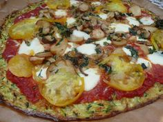 Healthy Pizza crust ideas - zucchini and a link to cauliflower crust.