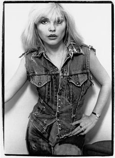 'Debbie in a jean jacket, c.1978. This shot was used for the cover of one of the weekly music papers in the UK'. Debbie Harry Blondie Chris Stein