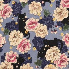 blue Asia flower cat fabric with gold metallic print from Japan - Flower Fabric - Fabric - kawaii shop modeS4u