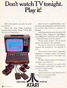 "Vintage Atari 2600 ad. ""Don't watch TV tonight. Play it!"" (Atari 2600 VCS)"