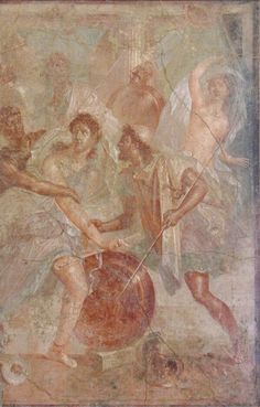 Pompeii - The APP sur Twitter : Achilles between Diomedes and Odysseus at Scyros. House of the Dioscuri, #Pompeii #fresco #Archaeology
