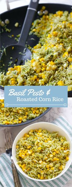 Sweet summer corn is roasted in the oven and combined with fresh basil pesto and jasmine rice. A perfect summer side dish! Sweet summer corn is roasted in the oven and combined with fresh basil pesto and jasmine rice. A perfect summer side dish! Corn Recipes, Side Dish Recipes, Vegetable Recipes, Vegetarian Recipes, Dinner Recipes, Cooking Recipes, Healthy Recipes, Cooking Rice, Veggie Food
