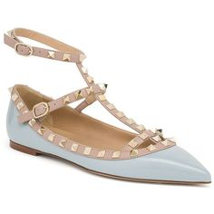 Valentino Rockstud Patent Leather Cage Flats ($1,030) ❤ liked on Polyvore featuring shoes, flats, apparel & accessories, sky blue, ankle strap flat shoes, valentino flats, flat pumps, ankle strap shoes and ankle strap flats