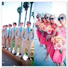 coral and teal (changing that to navy) wedding, but definitely maid of honor in navy and best man also in navy :)