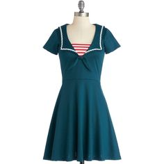 Nautical Mid-length Short Sleeves A-line Savvy Sailor Dress ($42) ❤ liked on Polyvore featuring dresses, modcloth, blue, nautical, apparel, fashion dress, mid length dresses, blue short sleeve dress, blue dress and short-sleeve dresses