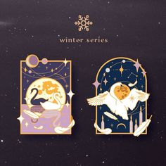 """Winter is coming and my winter pins are open for pre-order now! (ends Oct 30th PDT) Get ready for the cold weather! ❄️ ✨ Use discount code """"WINTER"""" to get $1USD off when you purchase a set. ✨ available at curamoon.bigcartel.com (link in bio)"""