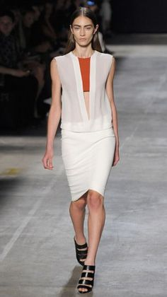 The best looks from #nyfw — Narciso Rodriguez white sheer shirt and skirt with orange cropped top. http://ti.me/QeHL5T